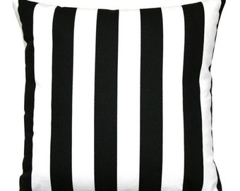 SALE Accent Pillows- Premier Prints Black and White Striped Pillow Cover- All Sizes- Zippered Pillow Cushion Cover Decorative Accent Pillow