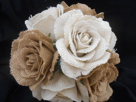 Burlap rose bouquet burlap and lace handle by fantasywedding for How to make hessian flowers