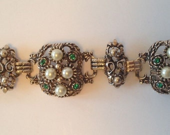 Vintage Faux Pearl and Green Rhinestone Chunky Bracelet