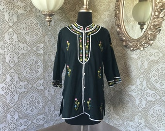 Vintage 1960's 70's Asian Style Black Button Down Tunic Blouse with Floral Embroidery Medium