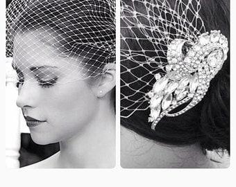 Bridal hair comb with birdcage veil, bridal headpiece,