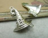 10pcs 25x34mm The  Wizard hat Silver Color Retro Pendant Charm For necklace Jewelry /Pendants C6932