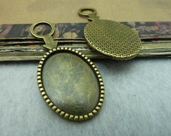 20pcs 18x25mm Antique Bronze  Cameo Cabochon Base Setting Tray Blanks Pendants Charm Pendant C6378