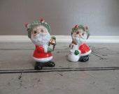 Spaghetti Trimmed Napco Vintage Miniature Santa Claus Figurines Green and Red Napco Ware Christmas Decor Retro Christmas Holiday Decor