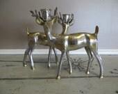 Brass and Silver Metal Deer Candle Holders Woodland Decor Hollywood Rengency Brass Decor Brass Deer Reindeer Centerpiece Forest Animals