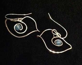 Sterlinjg Silver blue jade Bird earrings