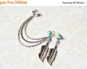 VALENTINES DAY SALE Blue Leaf Triple Chain Ear Cuff Earring (Pair)