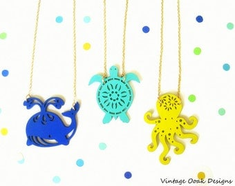 Sea Life Necklace,Sea Creatures Necklace, Sea Life Jewelry, Ocean Necklace,Nautical Necklace,Beach Theme Necklace,Mermaid Jewelry,Summer