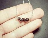 Black Herkimer Diamond Gemstones on Sterling Silver Chain Necklace - Mini Gemstone Bar - Healing Gemstones - Tiny Raw Crystals