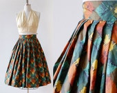1950s Skirt / High Waisted Pleated Skirt / 1950s Pleated Full Skirt /