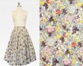 75% OFF LAST CHANCE Balloon Stars Butterfly Print Skirt / 1950s Novelty Print Skirt / 1950s Full Circle Skirt / Combed Cotton / 1950s Skirt