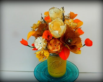 Sunflower Bouquet - Rustic Mason Jar - Paper flowers- Mothers Day, birthday, party decoration
