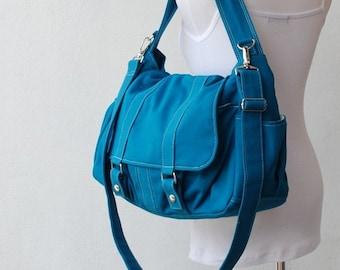 Back To School SALE - 30% Pico2 in Dark Teal (Water Resistant) Purse / Laptop / Shoulder Bag/ Messenger Bag / Women//Diaper Bag/ School Bag/