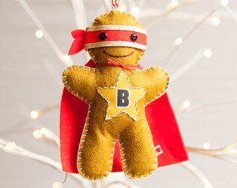 Ninjabread Man Decoration - Gingerbread Man Decoration - Personalized Christmas Ornament - Gingerbread Man - Superhero Decoration