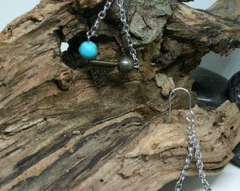Boucles d'oreilles turquoise et pyrite avec pointe flêche, amérindienne / arrow head earrings// native earrings//turquoise//southwestern