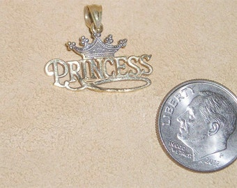Vintage Signed 10K Solid Gold Princess Pendant 1980's Jewelry C18