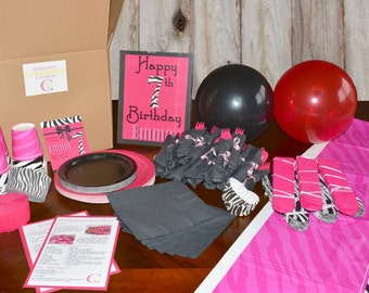 Pink Zebra Themed Birthday Party-In-A-Box. Custom Party Box, Personalized Birthday Invites, Pink Zebra Birthday Party, Celebration Creation