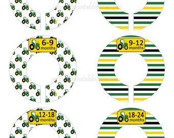 6 Baby Closet Dividers, Tractor Closet Organizers, Tractor Dividers, Green and Yellow, Custom Baby Closet, Clothes Organizers Tractors #627C