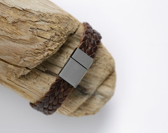 Leather Bracelet for him brown/silver