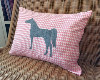 """Appliquéd Horse Pillow, Heather Gray Wool Felt Arabian Horse with Pink & White Houndstooth Print, 12"""" x 16"""""""