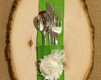 Lime Green Burlap Silverware Holder with white fabric flower - Set of 4 Easter Spring Summer Wedding
