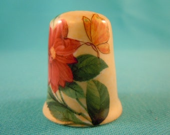 Thimble Bone China with Flower and Butterfly