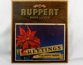 Vintage 1948 Jacob Ruppert Beer Wall Advertising Calendar New York Brewery Christmas Gift -Notes 'Fish on Friday' Reminders!
