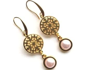 Ohrhänger,Ohrringe,earrings,wedding earrings,rosaline pearl