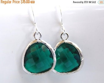 SALE Green Earrings, Silver Earrings, Emerald Green, Petite, Bridesmaid Earrings, Bridal Earrings Jewelry, Bridesmaid Gifts