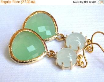 SALE Glass Earrings, Green Earrings, Gold Green Earrings, Mint Green, Wedding, Bridesmaid Earrings, Bridal Earrings Jewelry, Bridesmaid Gift