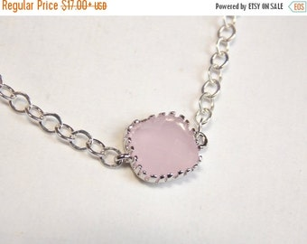 SALE Pink Necklace, Glass Necklace, Silver Necklace, Ice Pink, Light Pink, Bridesmaid Necklace, Bridal Jewelry, Bridesmaid Gift