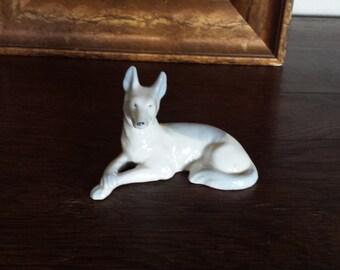 Porcelain German Shepherd Statue