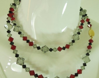 80s Signed Swarovski Crystal Necklace Red Black Gray 36 Inches Bicone Beads