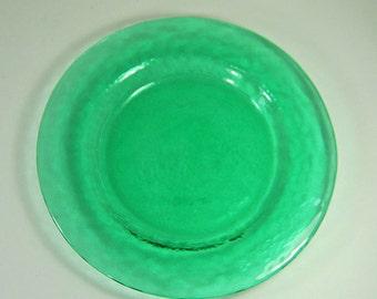 Vintage GREEN PLATE Set/8 Wavy Watery Glass BEACH