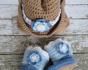 Cowgirl Hat and Boot Set 12-24 mos