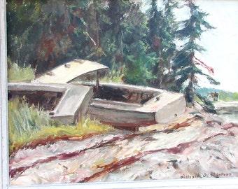 Original Oil Painting Richard Sigafoos - American Impressionist Artist - Listed Artist - Deserted Boat - Abandoned