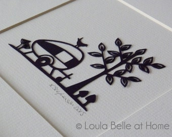 Caravan, an original mini papercut by Loula Belle at Home