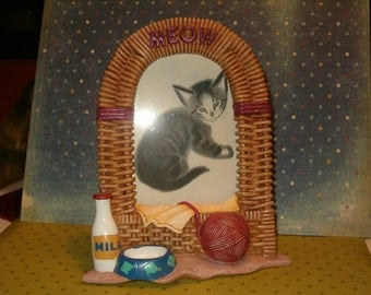 "Photo Frame, Kitty Cat, Meow Kitty, Yarn Ball, Blanket, Milk, Kitty Bowl, Easel Back, 7""H x 6""W"