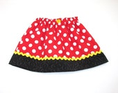 Minnie Mouse Skirt - Girls Costume Dress Up Trunk Vacation Birthday Outfit - Red and White Polka Dots - Avail Size 3 mth to Adult