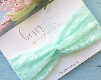 Mint Floral Lace Twisted Turban Headband