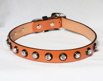 SALE: Very Orange Leather Dog Collar, Recycled Leather Dog Collar, Orange and Black Leather Dog Collar. Fits 17 -22 inches