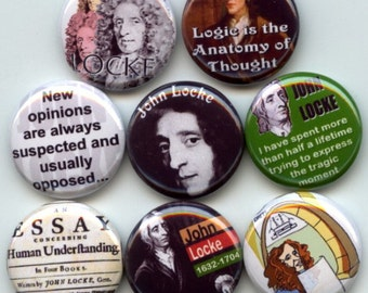 "John Locke English Philosopher Enlightenment Father of Liberalism 8 Pinback 1"" Buttons Badges Pins"