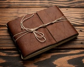Leather Journal or Leather Sketchbook, Medium Sized, Chocolate Brown Leather Handbound Photo Album