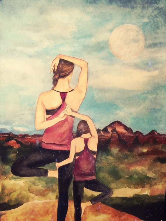 Mother daughter yoga art print gift idea mother's day