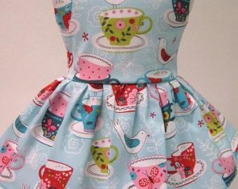 Bird on a Tea Cup Sleeveless Dress for your American Girl Doll E