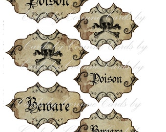 Halloween steampunk beware poison 6 labels stickers glossy laminated adhesive paper