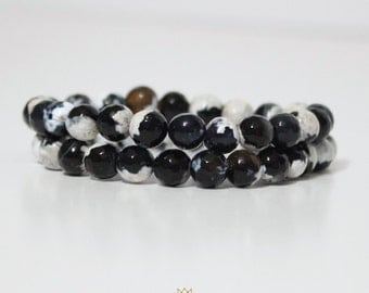 Black and White Agate Stretchy Bracelet