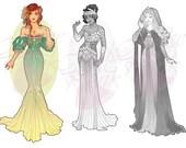 Ariel Princess Mucha Style CROSS STITCH PATTERN Original Art by Hannah Alexander