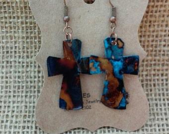 Cross Copper Earrings. Patina Copper Earrings, Rustic Earrings