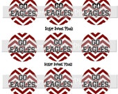 INSTANT DOWNLOAD  Go Eagles Chevron Maroon White  School Mascot 1 inch circle Bottle cap Images